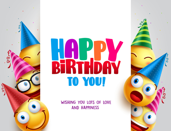 Happy birthday background with funny expression vector 04