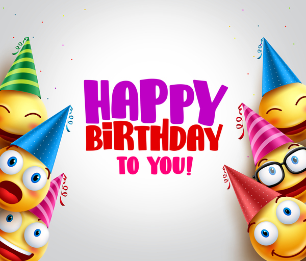 Happy birthday background with funny expression vector 05