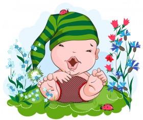 Happy kid in a green hat vector