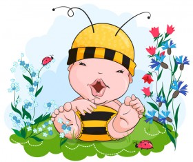 Happy kid in the bee outfit vector