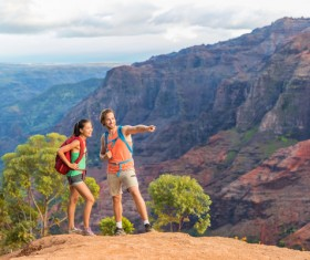 Happy male and female hikers Stock Photo