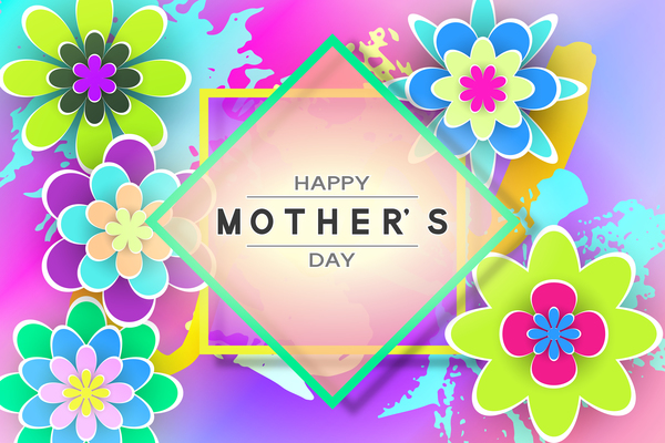 Happy mother day flower cards vectors set 01