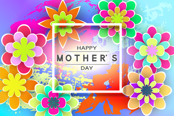 Happy mother day flower cards vectors set 02