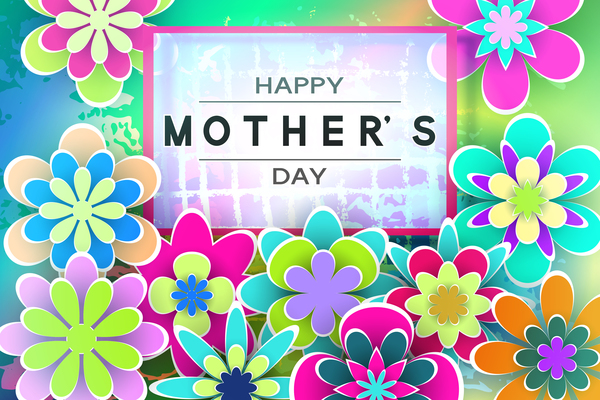 Happy mother day flower cards vectors set 03