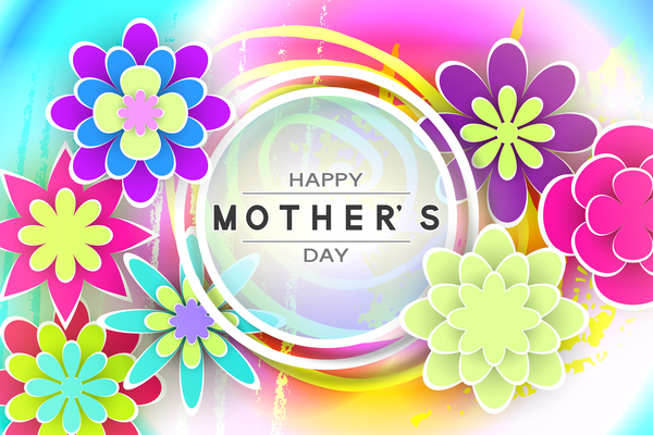 Happy mother day flower cards vectors set 04