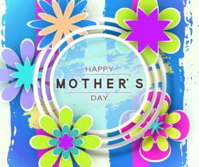 Happy mother day flower cards vectors set 05