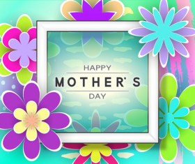 Happy mother day flower cards vectors set 06