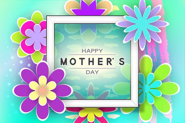 Happy mother day flower cards vectors set 06