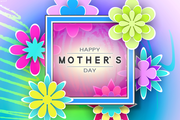 Happy mother day flower cards vectors set 07