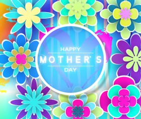 Happy mother day flower cards vectors set 08