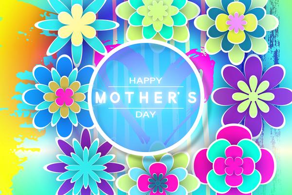 Happy mother day flower cards vectors set 08