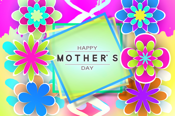 Happy mother day flower cards vectors set 09