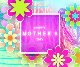 Happy mother day flower cards vectors set 10