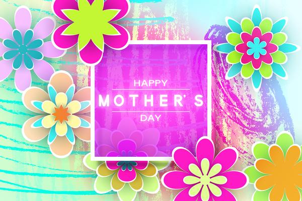 Happy mother day flower cards vectors set 10