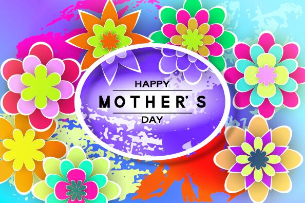 Happy mother day flower cards vectors set 13