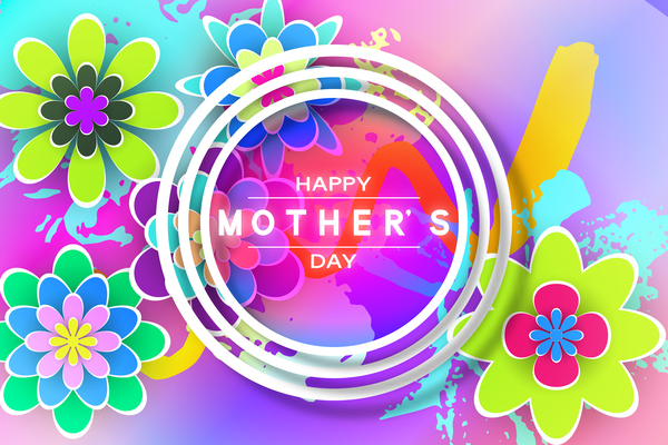 Happy mother day flower cards vectors set 14