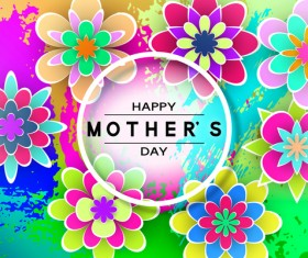 Happy mother day flower cards vectors set 15