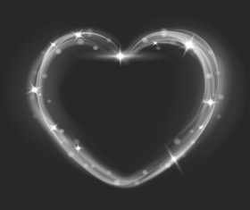 Heart shape light effects illustration vector 01