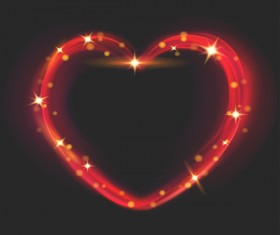 Heart shape light effects illustration vector 03