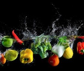 High Speed Lens Vegetable Splash Water HD picture 01