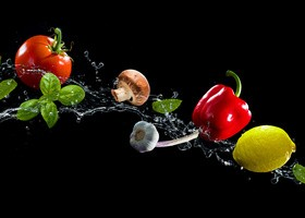 High Speed Lens Vegetable Splash Water HD picture 02