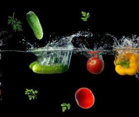 High Speed Lens Vegetable Splash Water HD picture 09