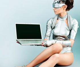 High-tech female model Stock Photo