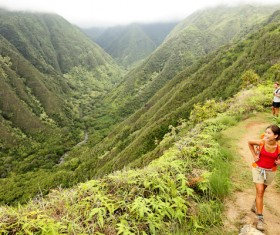 Hikers climbing the scenery Stock Photo
