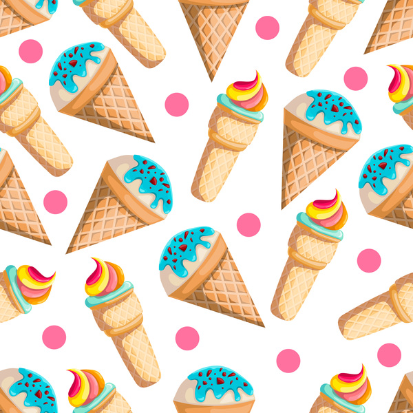 Seamless Ice Cream Background Vintage Style: Ice Cream Seamless Pattern Vector Material 07 Free Download