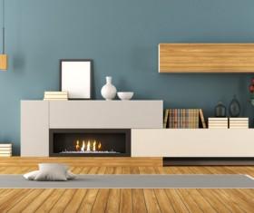 Indoor fireplace and bookshelf Stock Photo