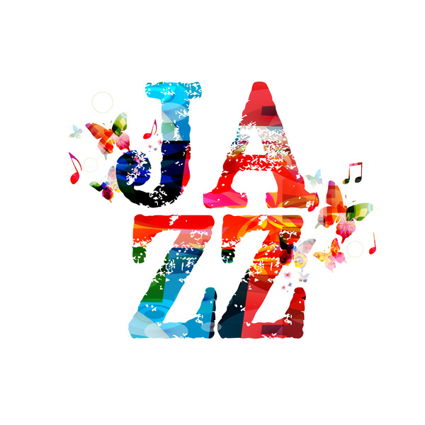 Jazz music with colorful butterflies vector