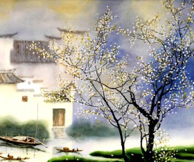 Jiangnan spring watercolor painting HD picture