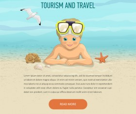 Kid and travel summer holiday background vector 01