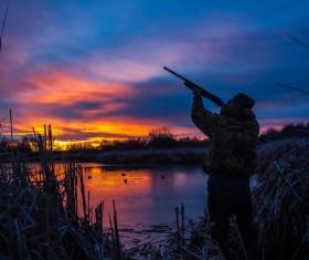 Lake hunting Stock Photo