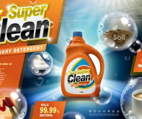 Laundry liquid ads poster template vector 05