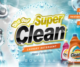 Laundry liquid ads poster template vector 06
