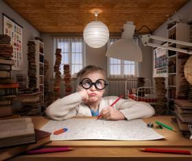 Learning little girl Stock Photo