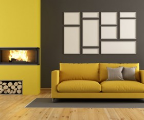 Living room with yellow sofa and fireplace Stock Photo