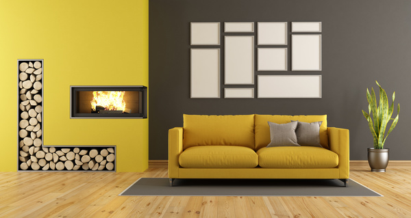 Living Room Yellow Sofa living room with yellow sofa and fireplace stock photo - interiors