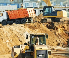 Loaders and bulldozers on the site Stock Photo