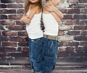Lovely little boy with little girl HD picture