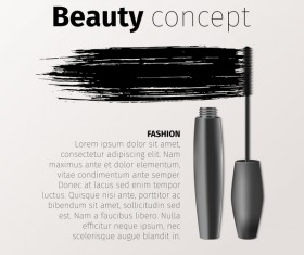 Mascara brushes with vector background material 03