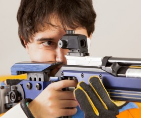 Men's air rifle athletes Stock Photo
