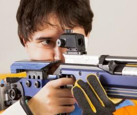 Men's air rifle athletes Stock Photo