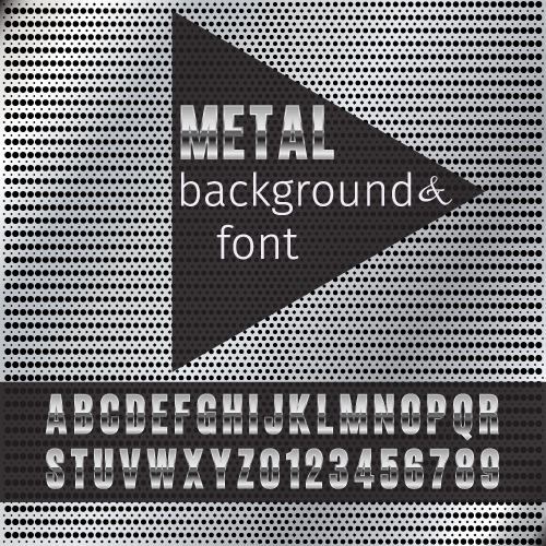 Metal background with metal font vector