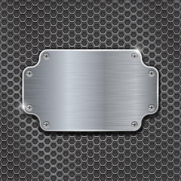 Metal banner with perforated background vector 06