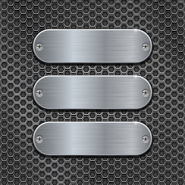 Metal banner with perforated background vector 07