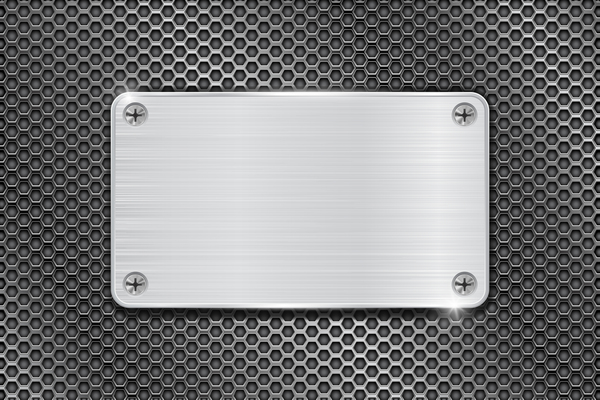 Metal banner with perforated background vector 08