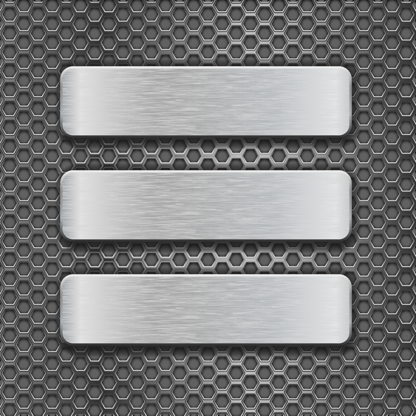 Metal banner with perforated background vector 09