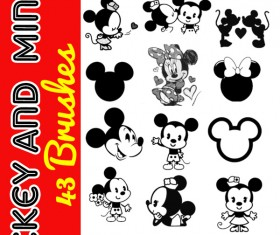 Mickey and Minnie photoshop brushes